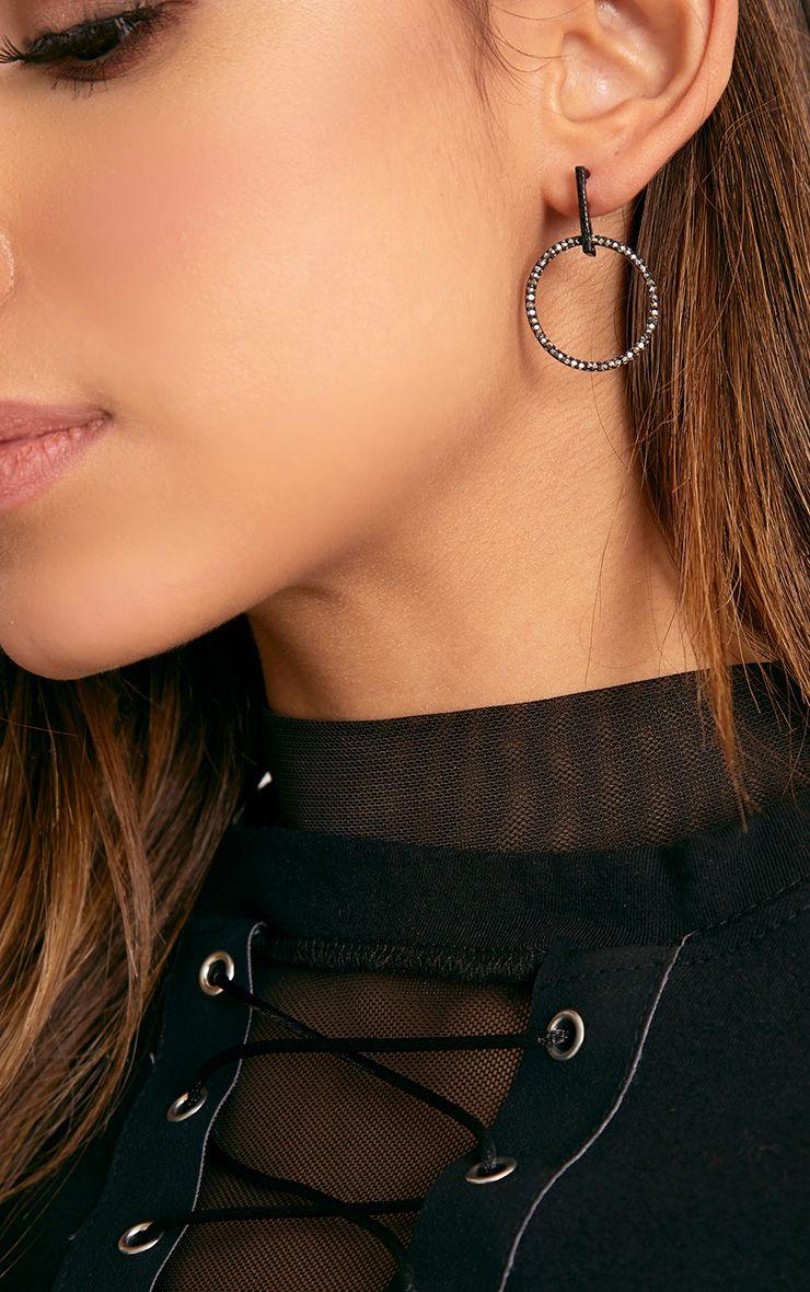 Harlie Black Circle Crystal Earrings