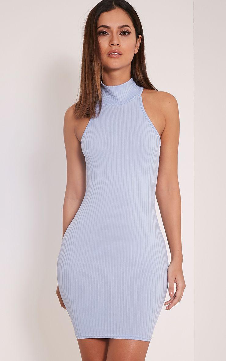 Pearla Dusty Blue Racer Neck Ribbed Bodycon Dress 1