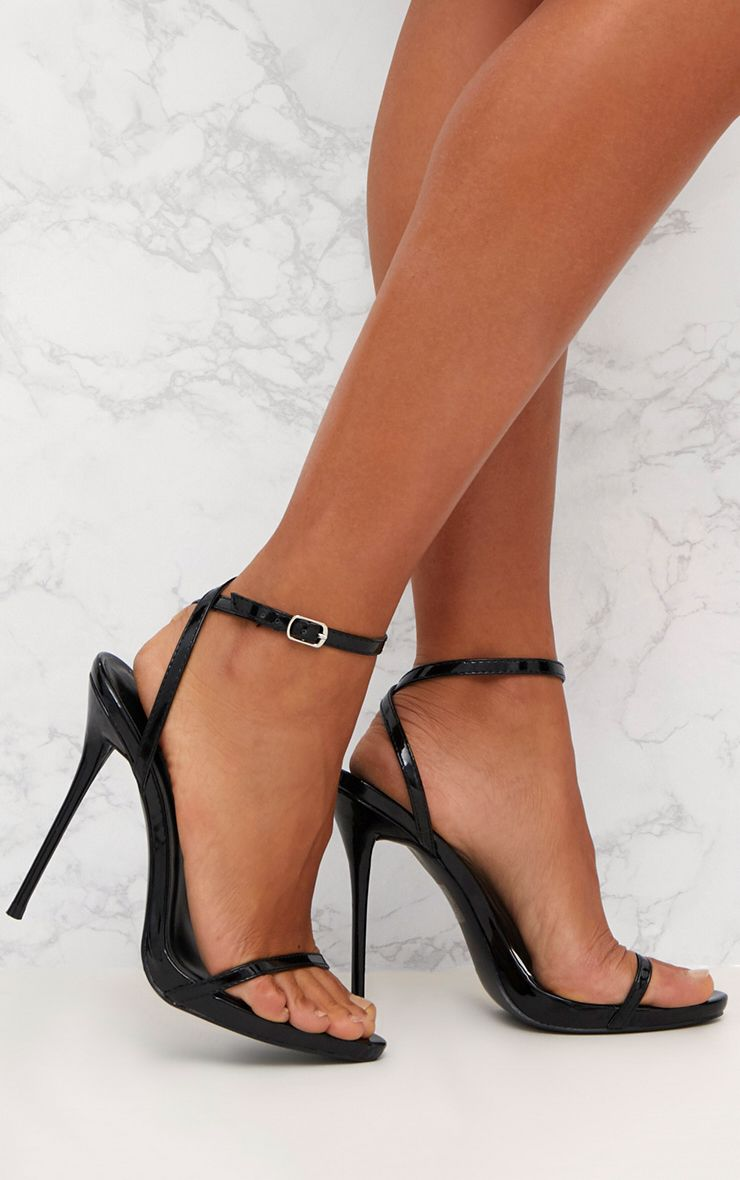 Black Patent PU Single Strap Stiletto Sandals  1