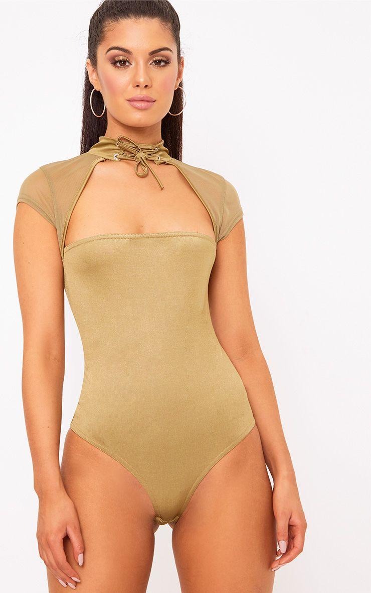 Khaki Slinky Mesh Choker Square Cut Thong Bodysuit