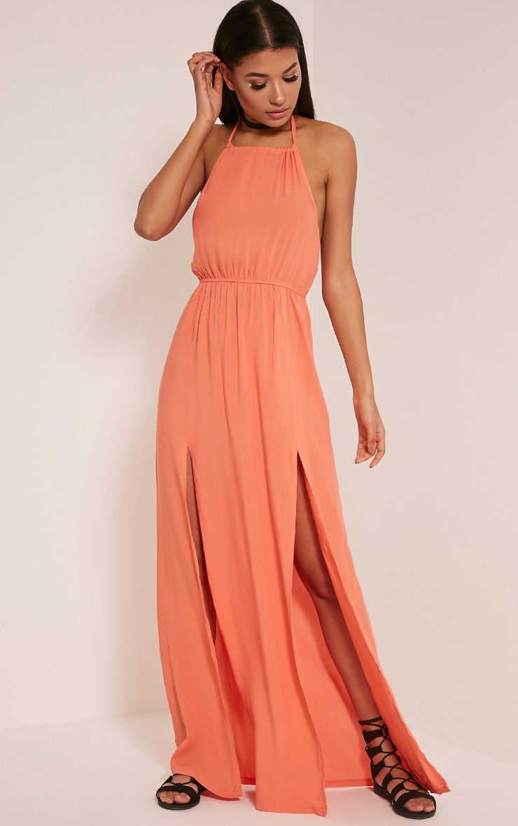 Rochelle Peach Halterneck Split Front Maxi Dress 1