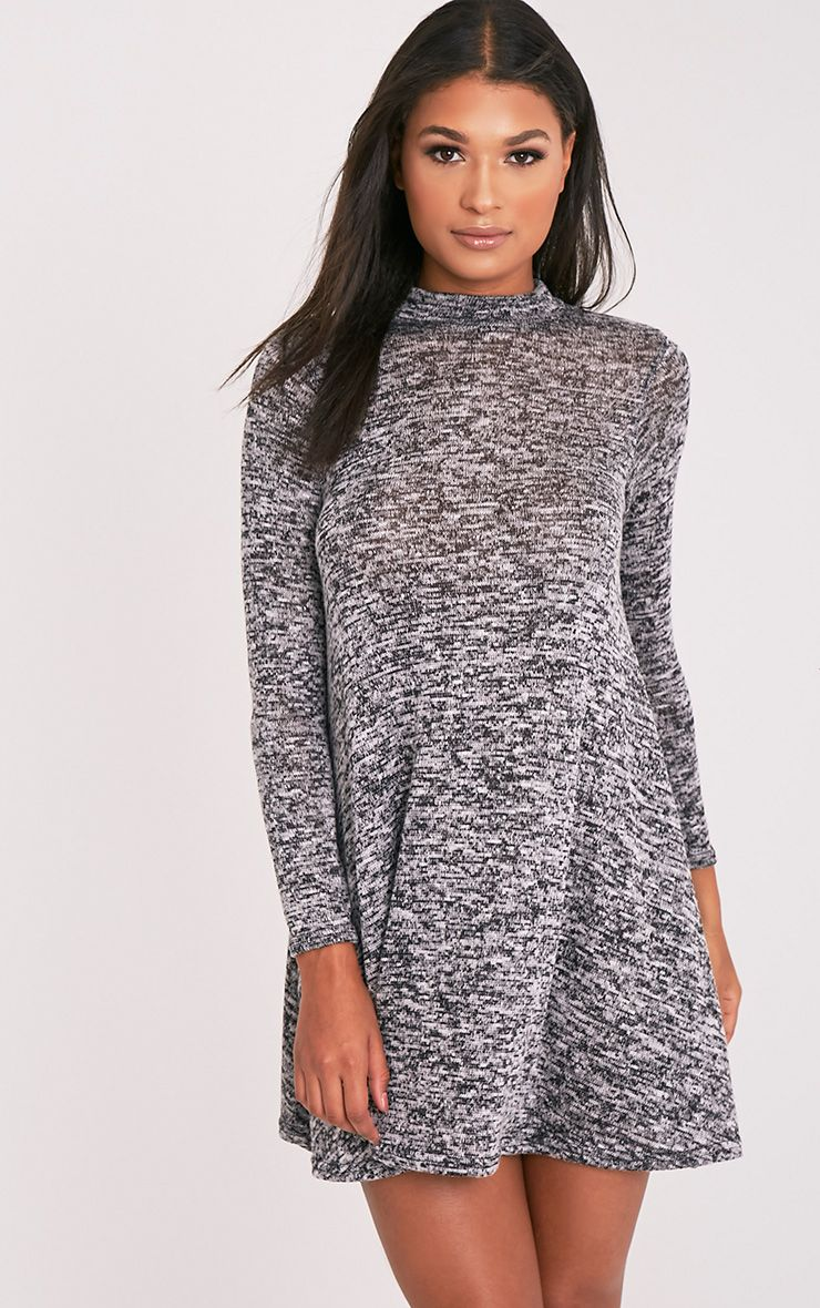 Annwyl Grey High Neck Long Sleeved Swing Dress