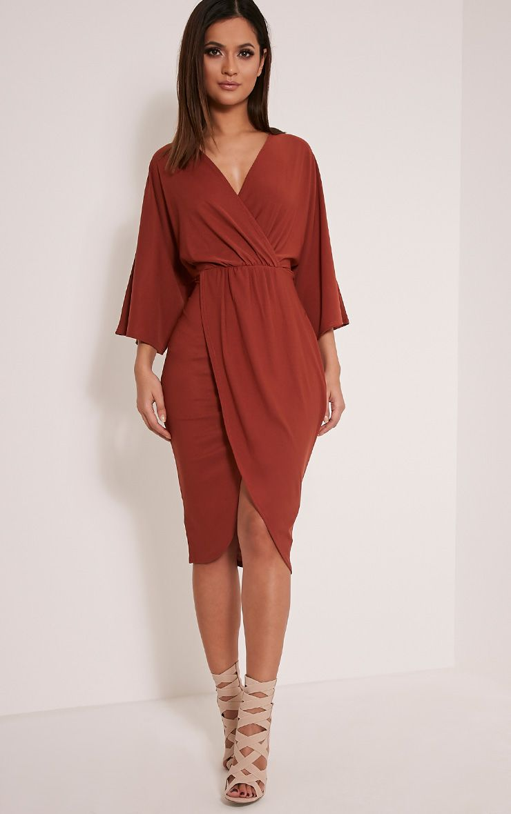 Archer Tobacco Cape Midi Dress