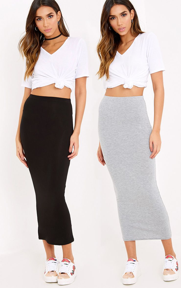 Basic Black & Grey Jersey Midaxi Skirt 2 Pack