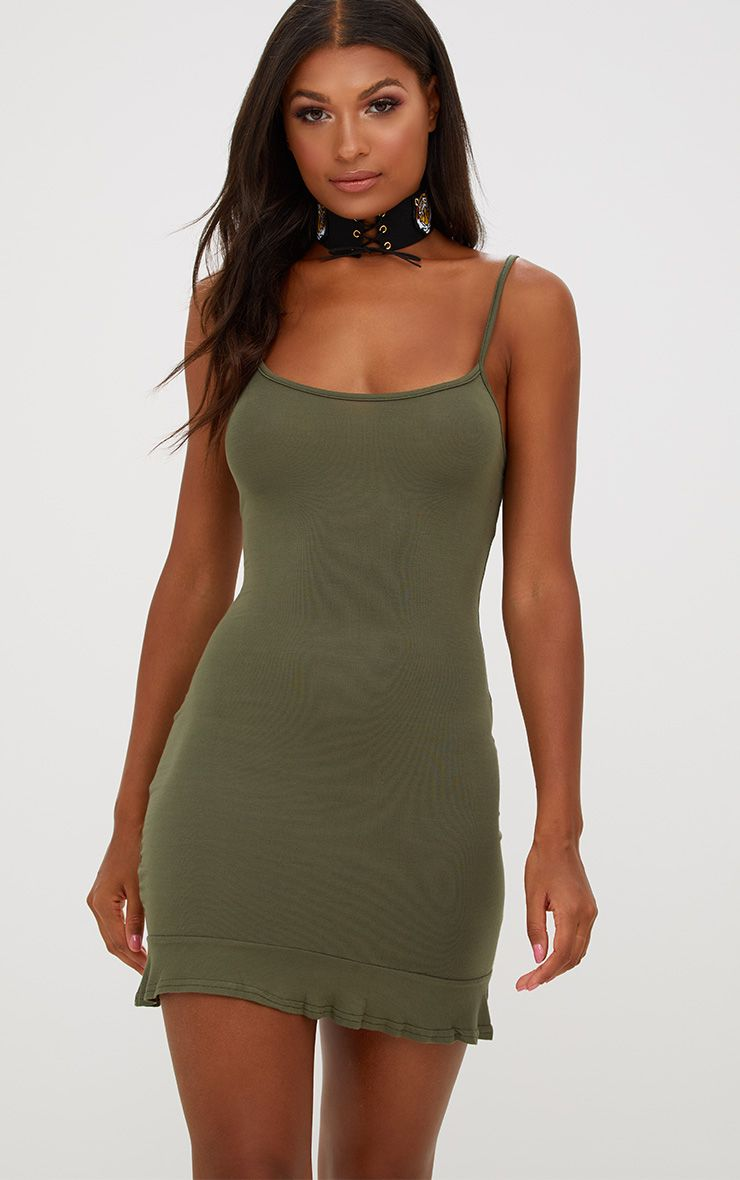 Khaki Frill Hem Bodycon Dress