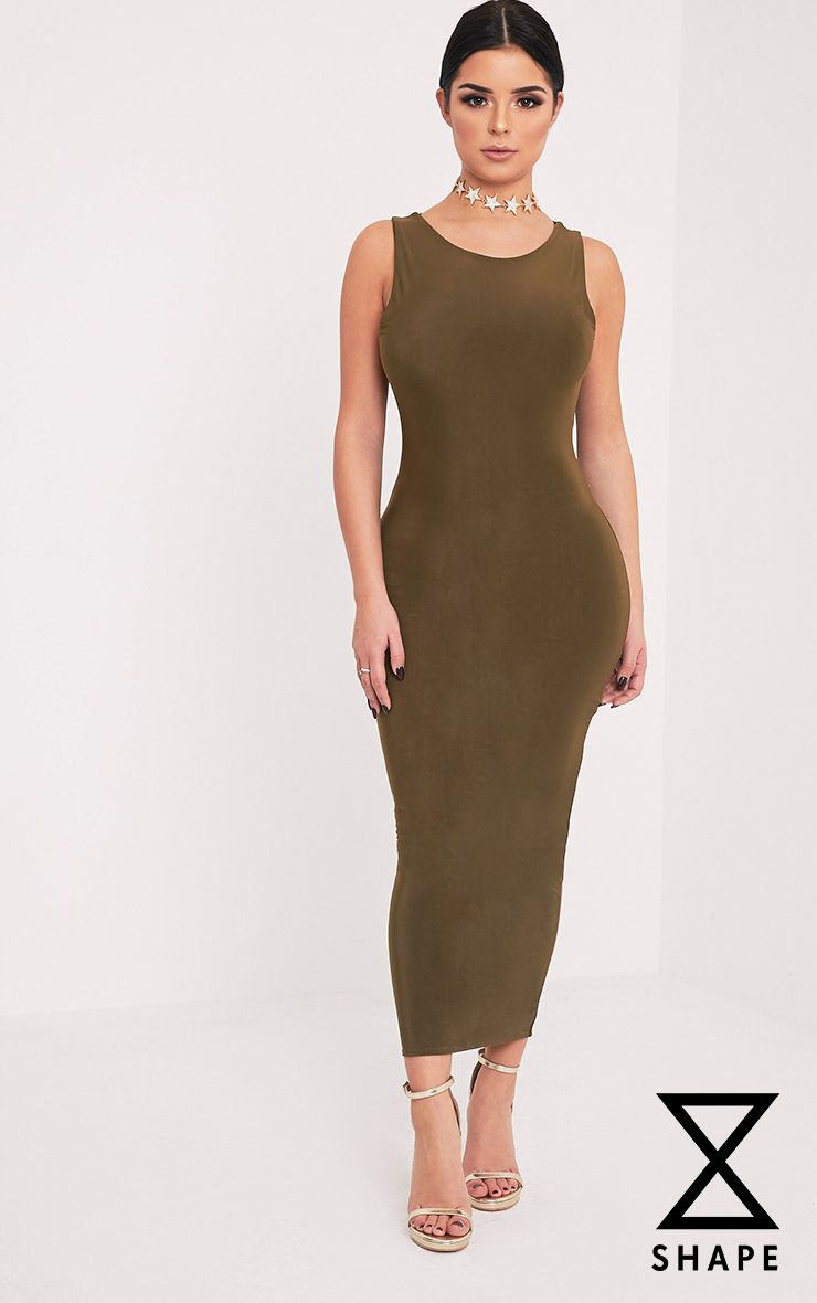 Shape Adelphe Khaki Crew Neck Slinky Calf Length Dress
