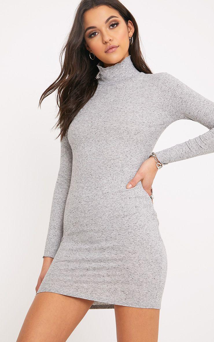 Lena Grey Ribbed Neck Detail Bodycon Dress