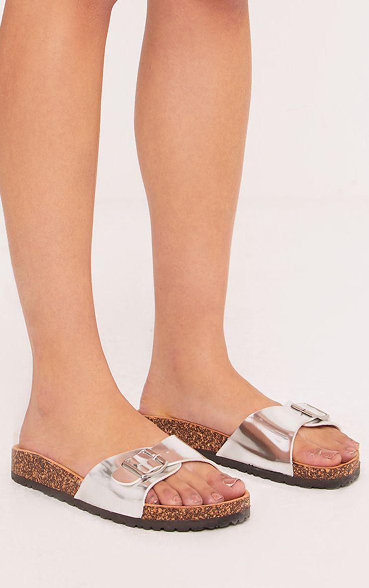 Charlene Silver Metallic Strap Sandals