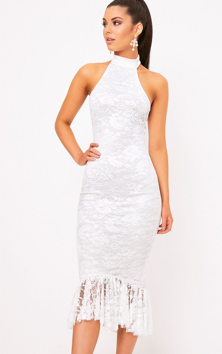 White Lace Halterneck Frill Hem Midi Dress