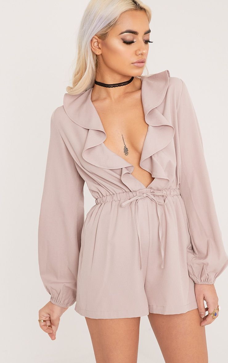Hope Mocha Frill Plunge Bow Back Playsuit