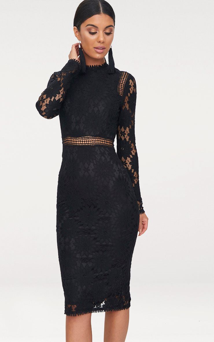 Caris Black Long Sleeve Lace Bodycon Dress - Dresses ...