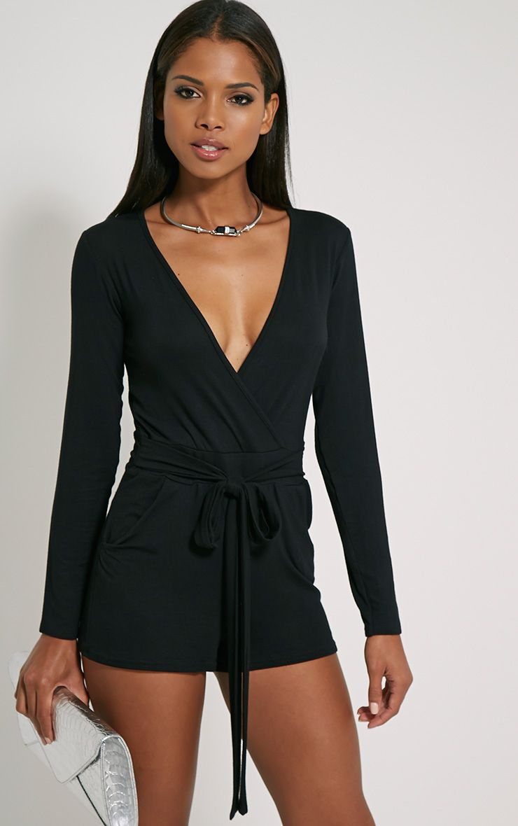 Jessey Black Jersey Wrap Playsuit 1