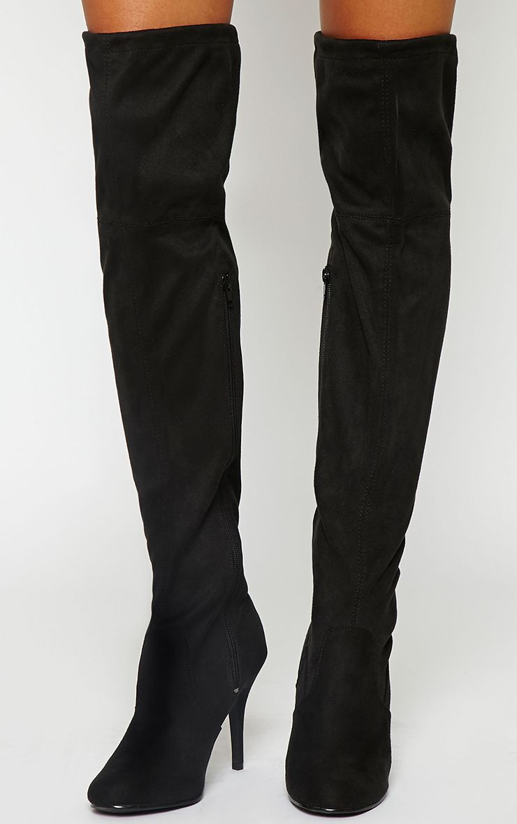 Ayanna Black Suedette Over The Knee Heeled Boots 1