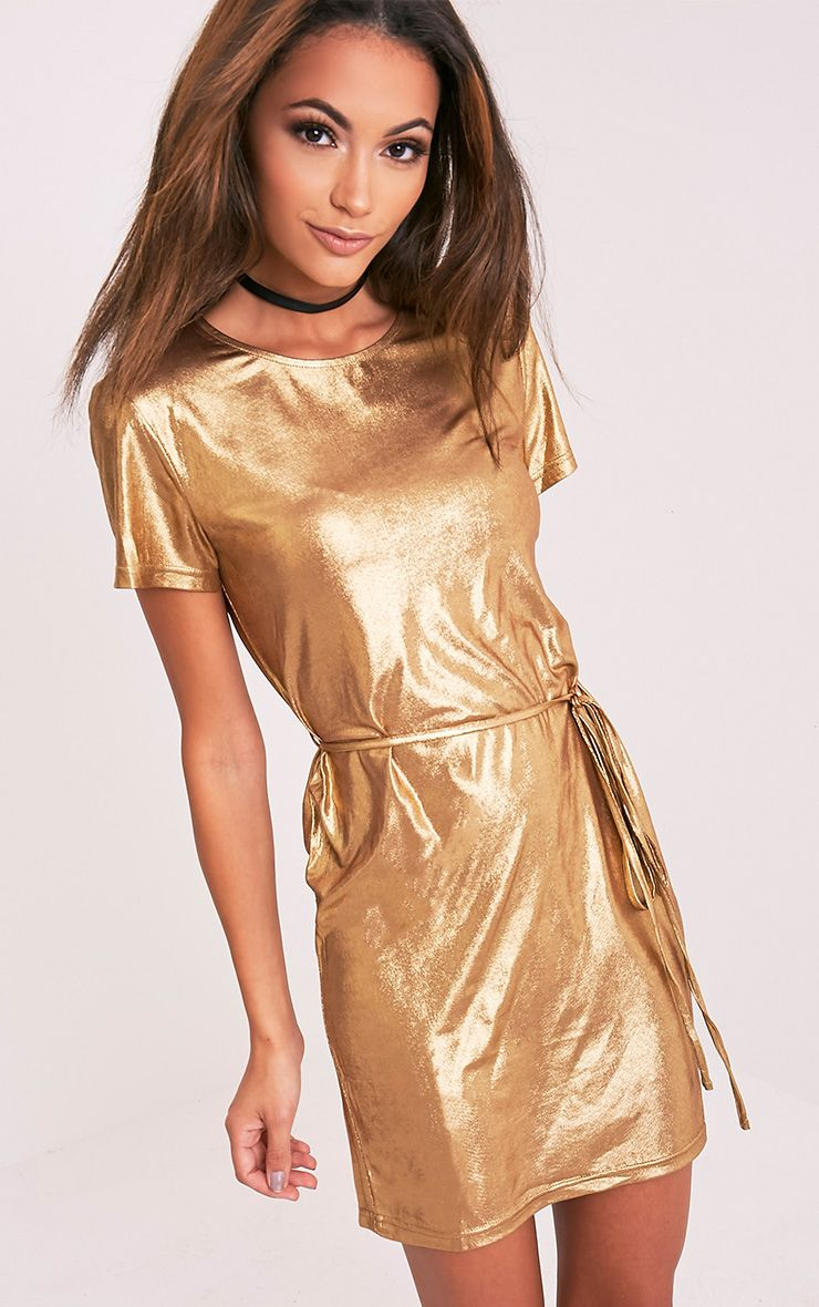 Breeni Bronze Shiny Tie Waist T-Shirt Dress 1