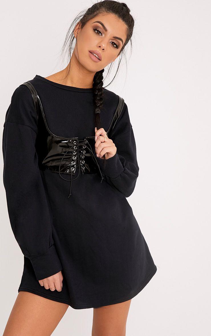 Lila corset à lacets en cuir synthétique noir