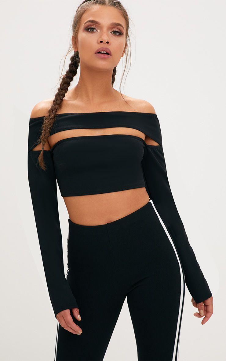 Black Cut Out Bardot Longsleeve Crop Top