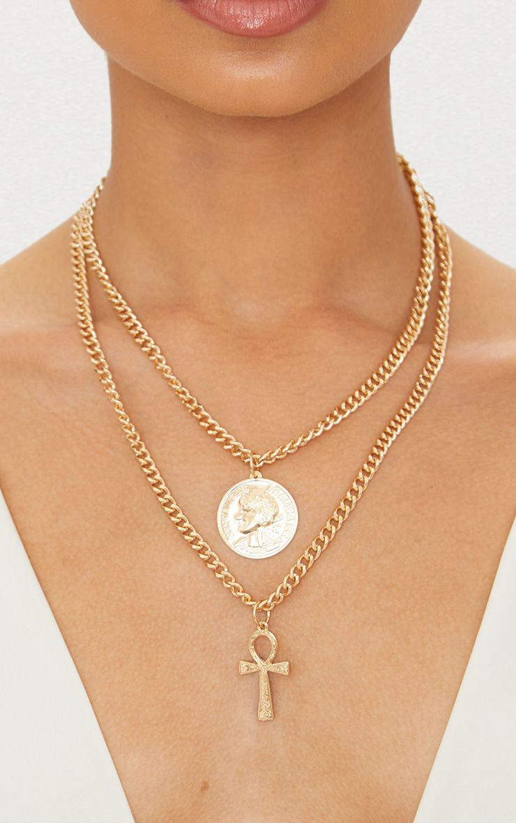 Gold Coin and Cross Chunky Chain Necklace