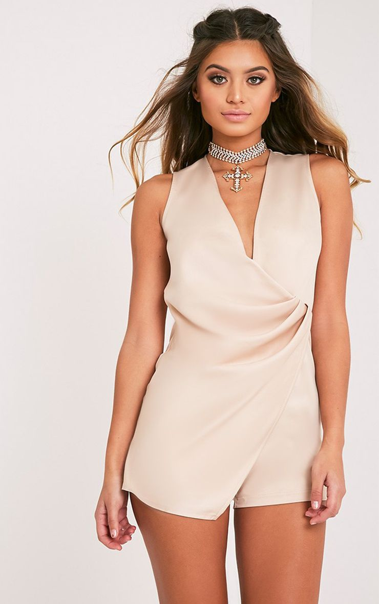 Francie Champagne Wrap Front Playsuit