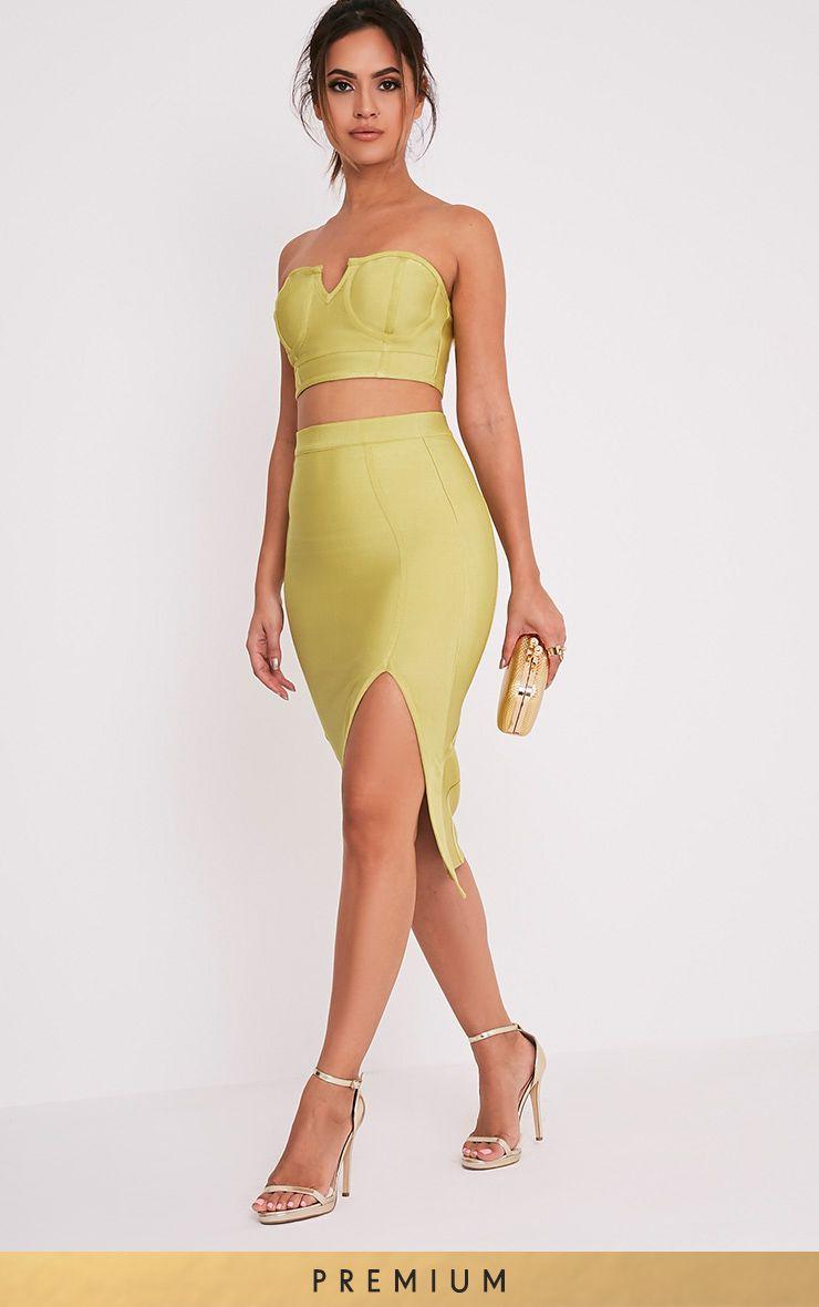 Caitlyn Dark Lime Bandage  Midi Skirt 1