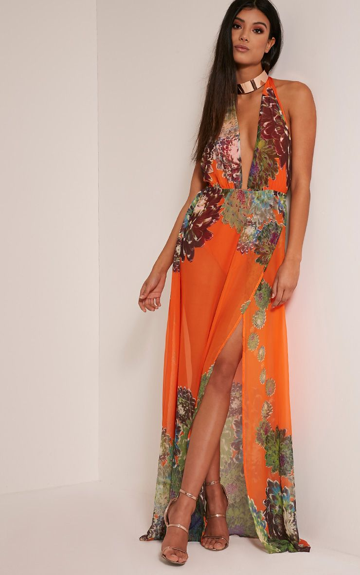 Alina Bright Orange Tropical Print Plunge Maxi Dress