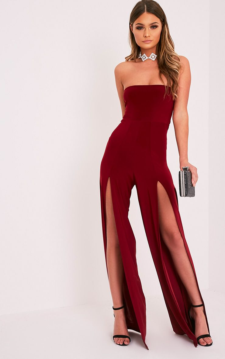 Tori Burgundy Front Thigh High Split Slinky Bandeau Jumpsuit
