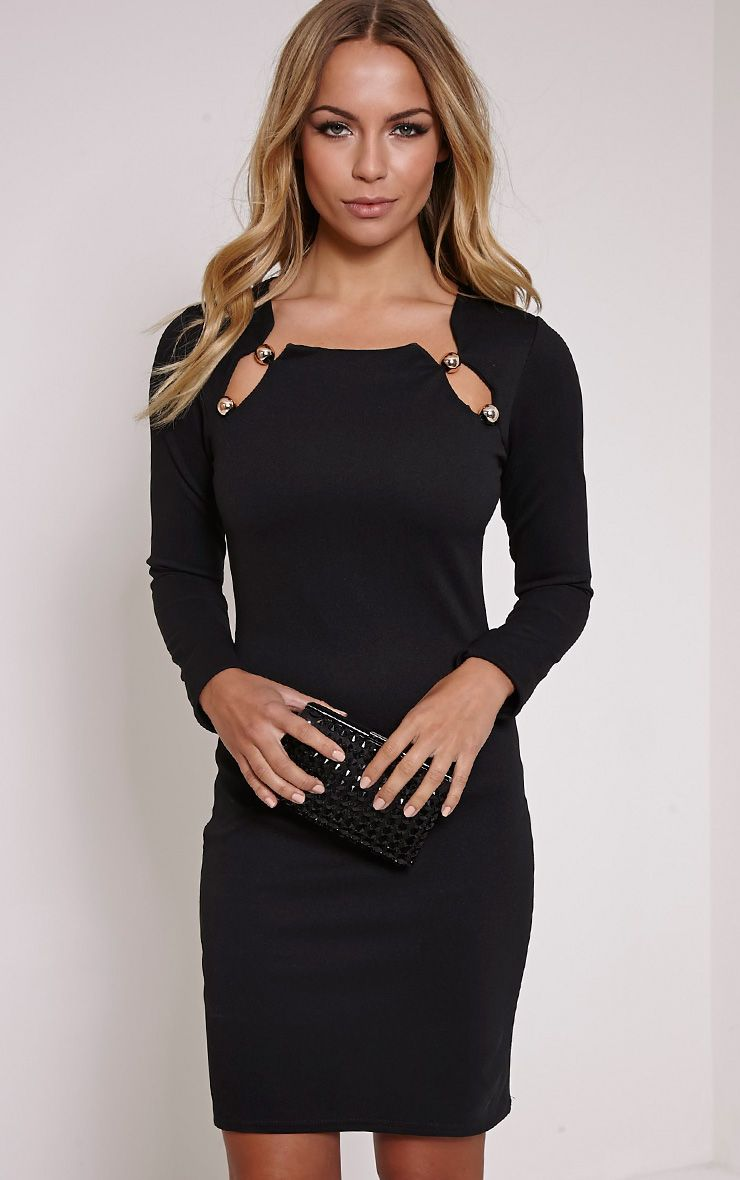 Marsha Black Ball Detail Bodycon Dress