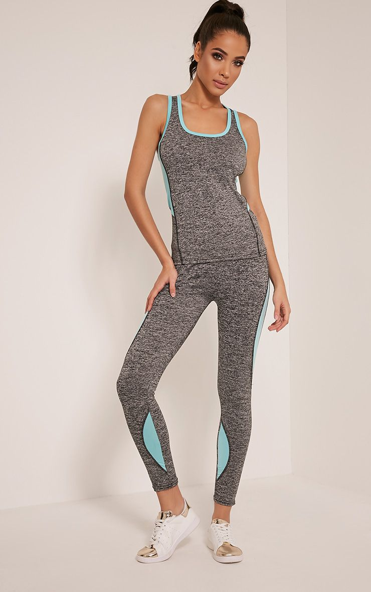 Jennie Blue Panel Detail Gym Leggings 1