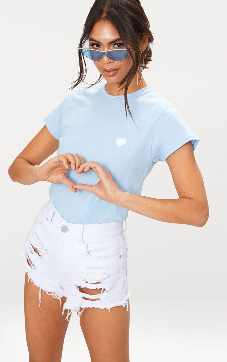 Baby Blue Love Heart Jersey T Shirt