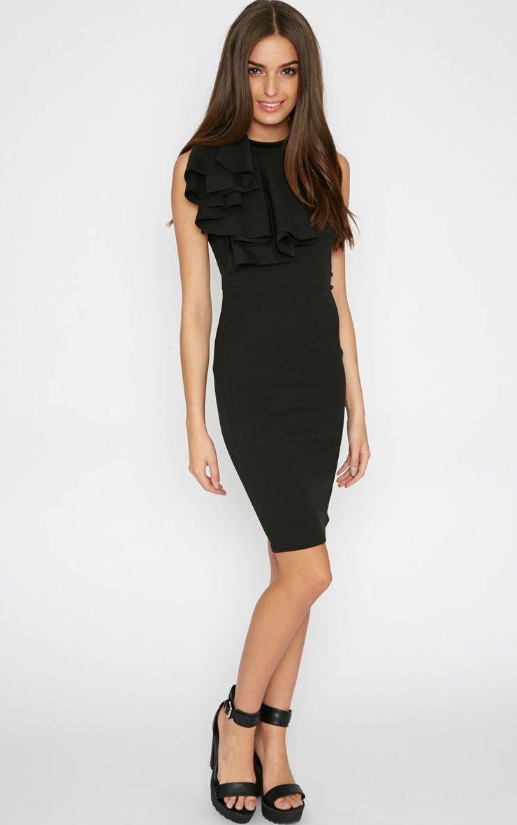 Elana Black Frill Bodycon Dress 1