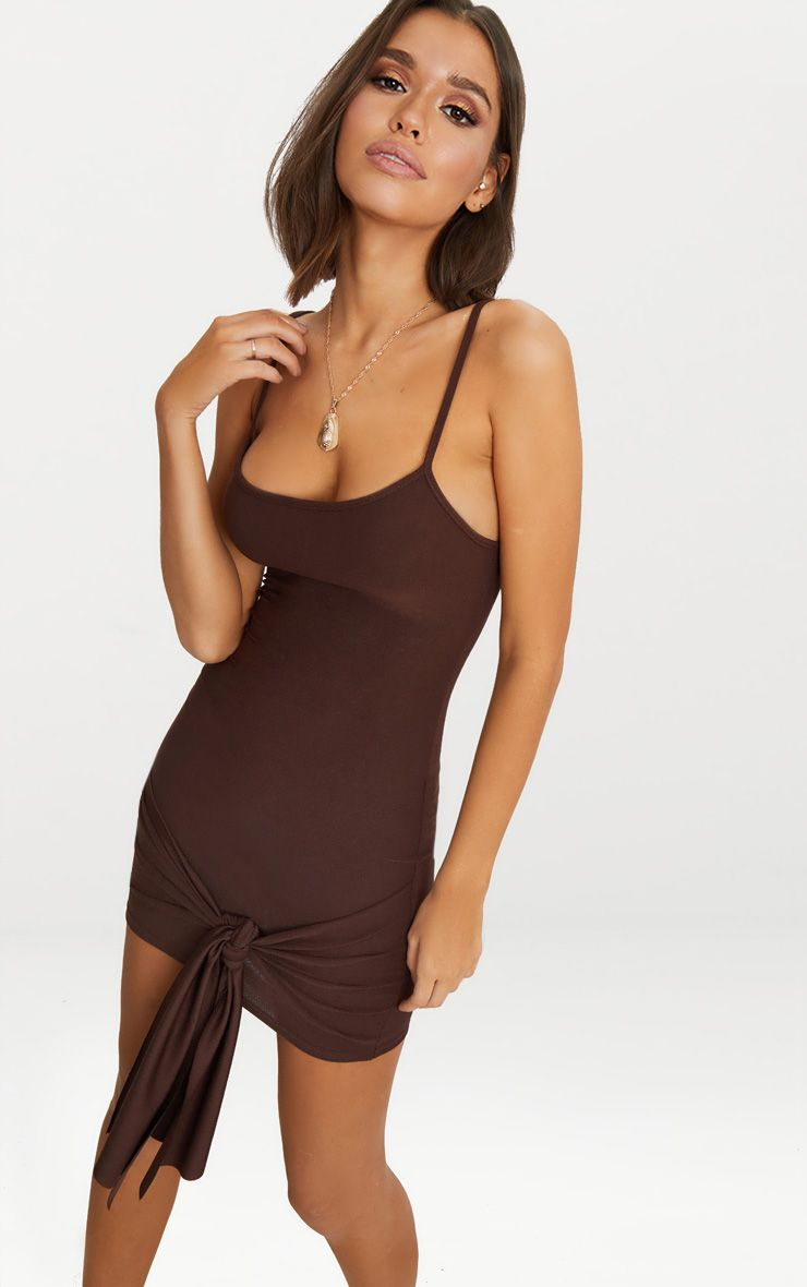 Chocolate Brown Strappy Straight Neck Bodycon Dress