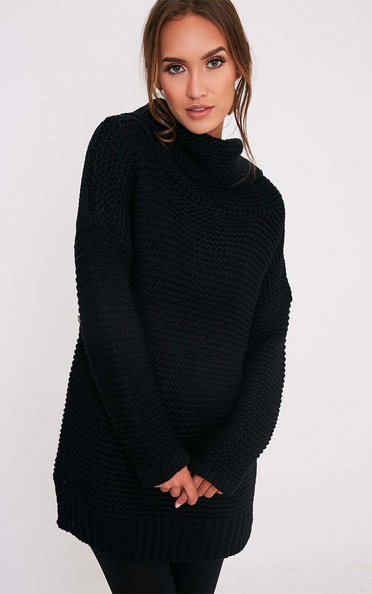 Camarina Black Roll Neck Chunky Knit Jumper