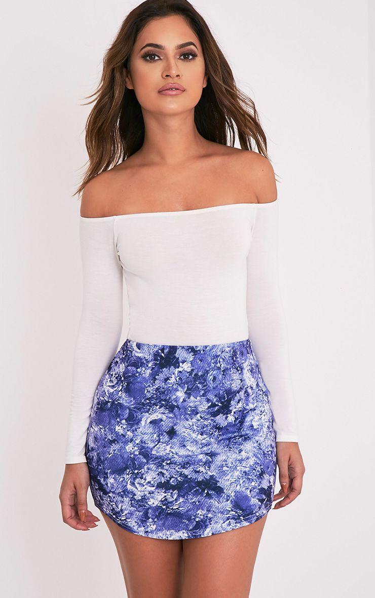 Tashia Blue Oriental Print Curve Hem Mini Skirt 1