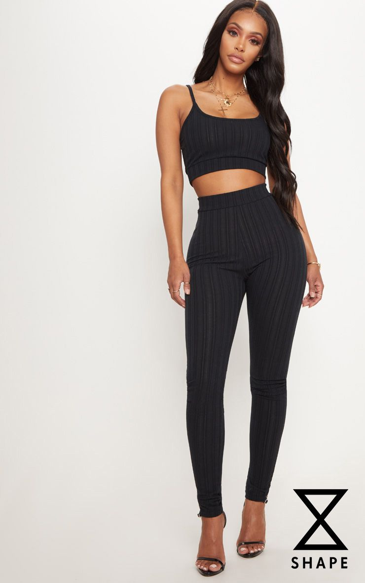 Shape Black High Waist Ribbed Leggings