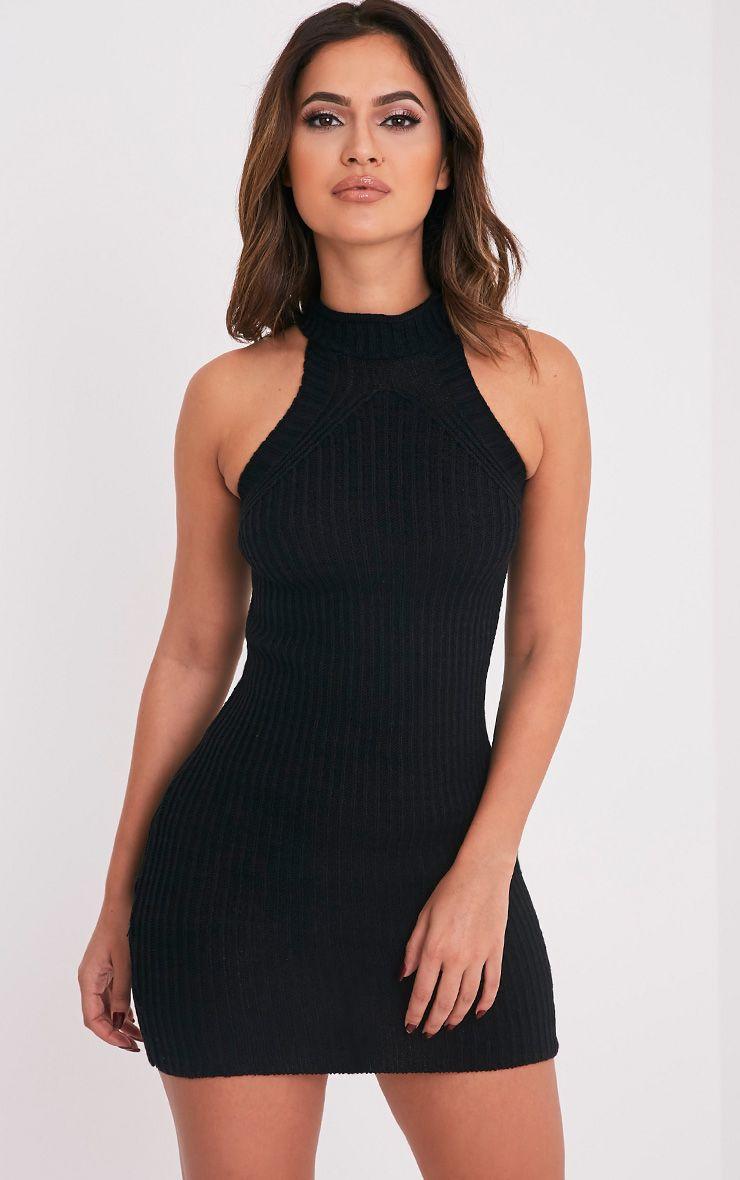 Nadalae Black Knitted High Neck Sleeveless Mini Dress 1