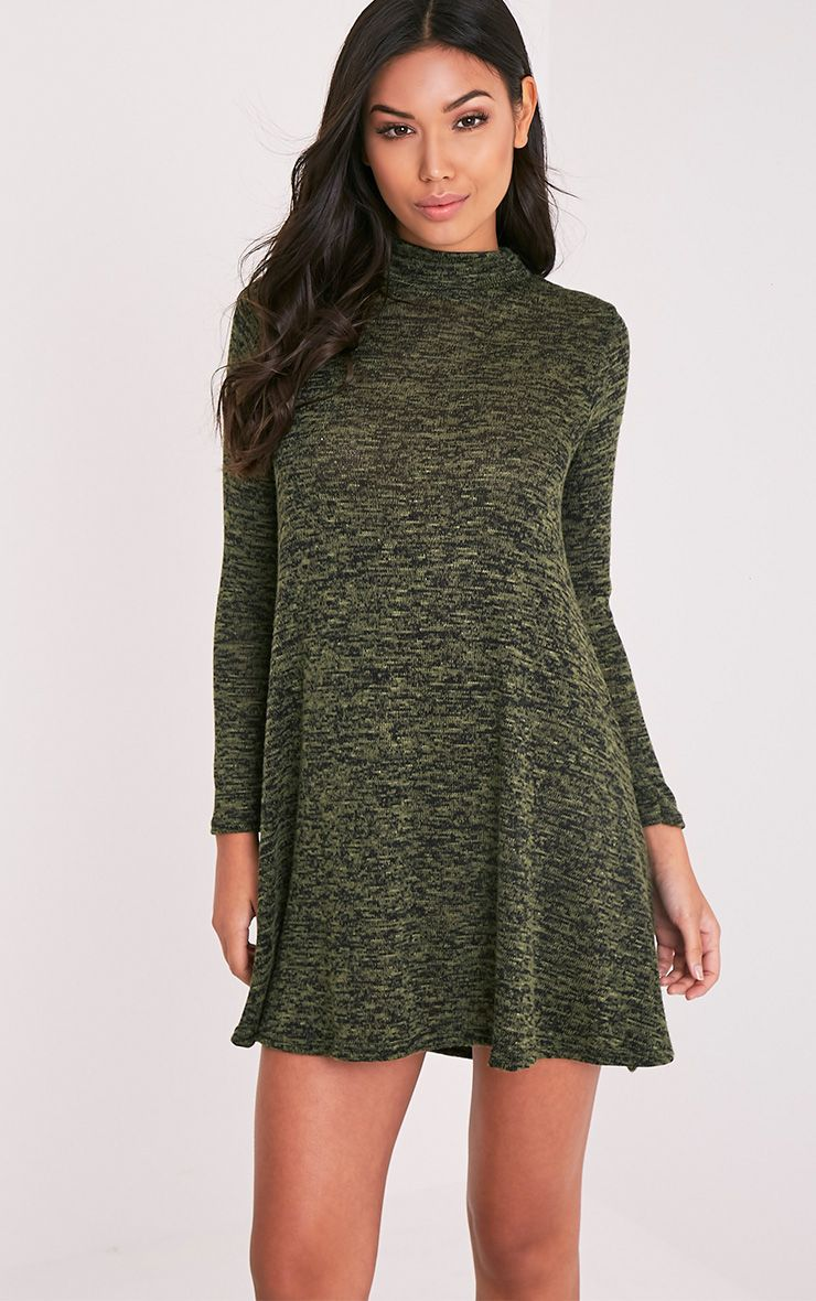 Annwyl  Khaki High Neck Long Sleeved Swing Dress 1