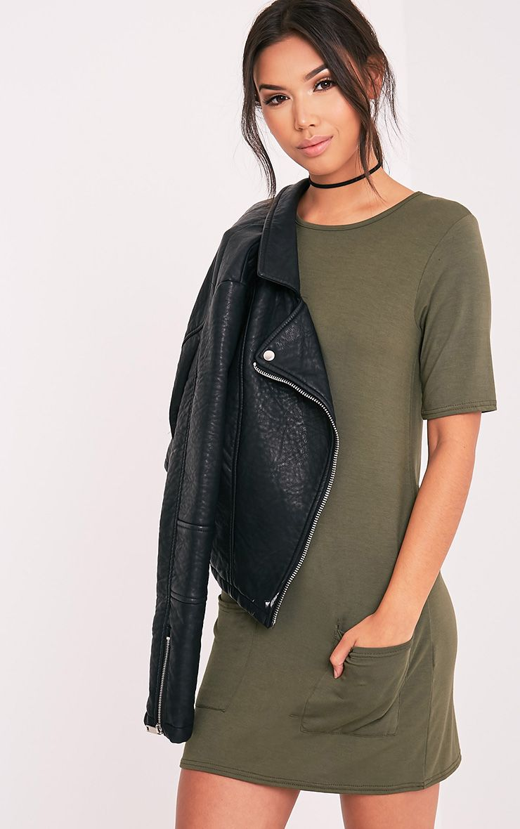 Basic Khaki Pocket Detail T Shirt Dress