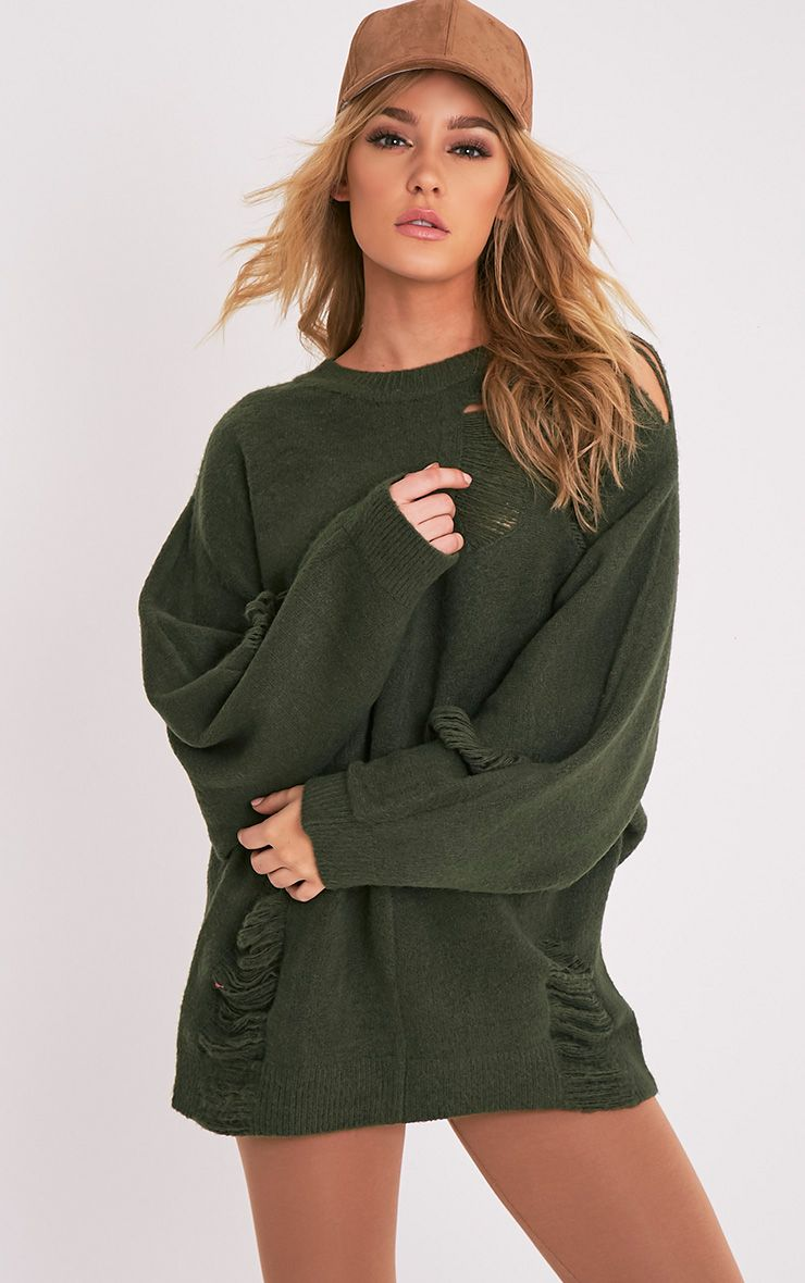 Raysa Khaki Distressed Oversized Knitted Jumper 1