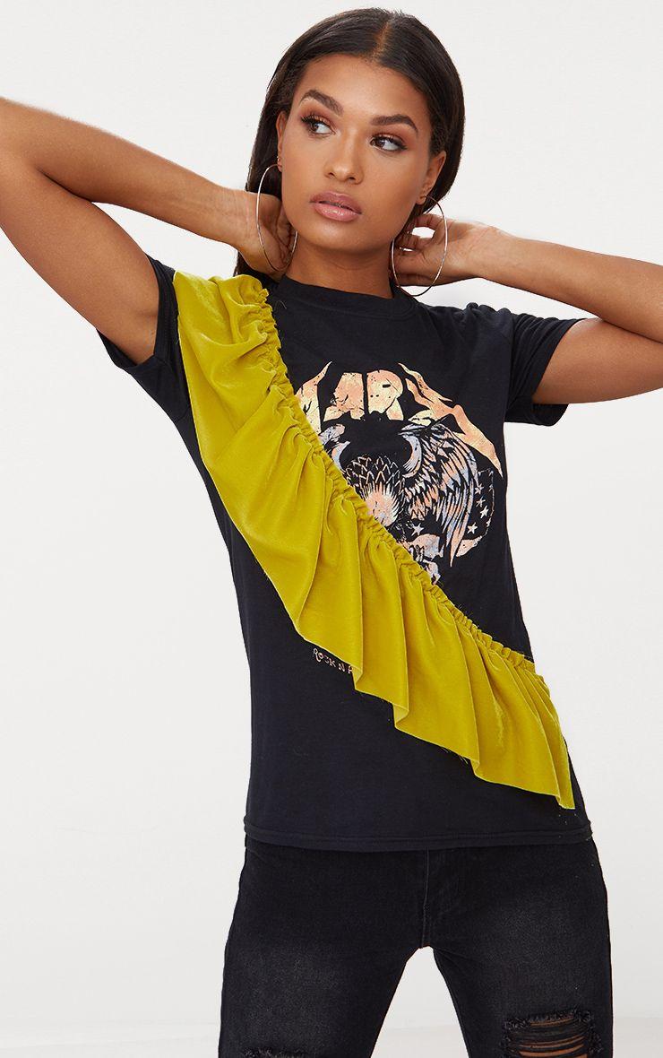 Mustard Velvet Frill Slogan Oversized T Shirt