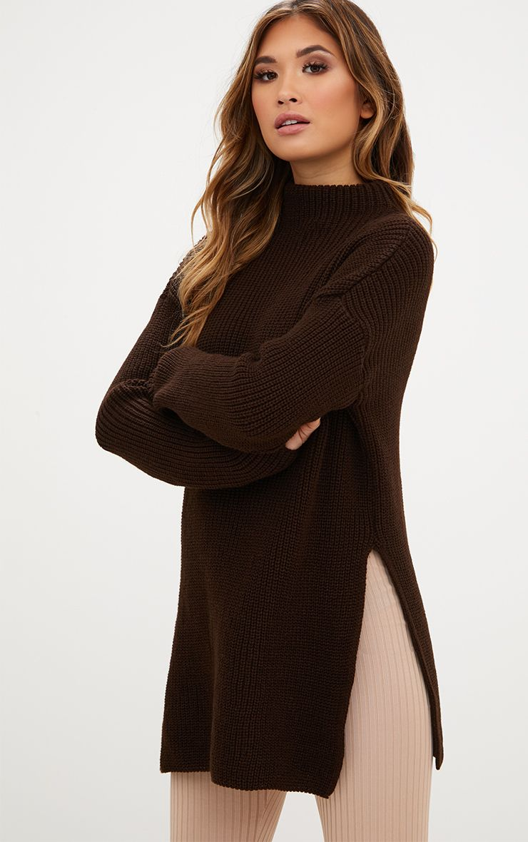 Chocolate Brown High Neck Oversized Jumper