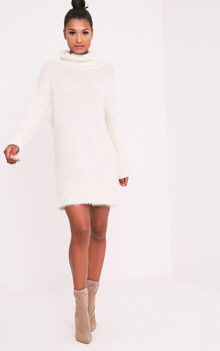 Fontaine robe pull surdimensionnée crème en mohair 5