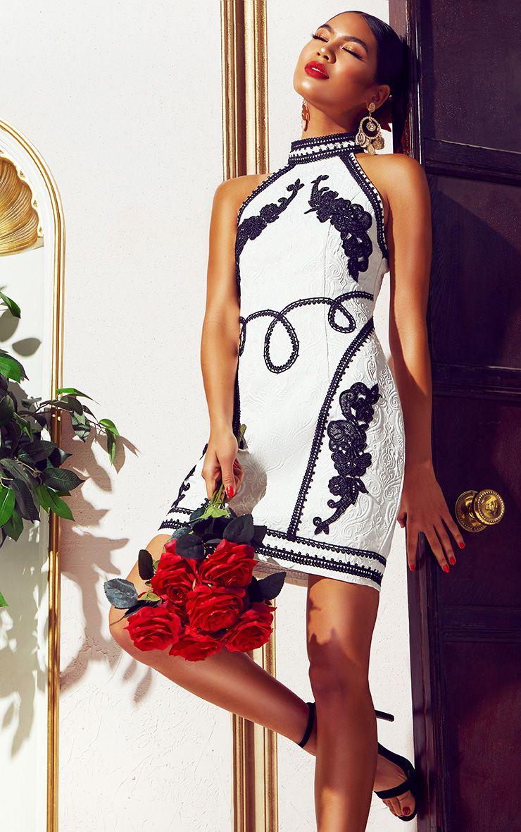 White Jacquard Black Embroidered Bodycon Dress