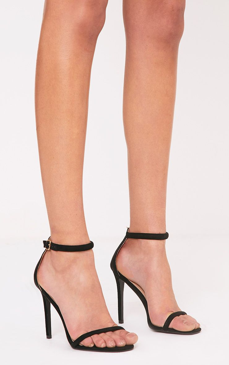 Ruby Black Square Toe Strappy Heels