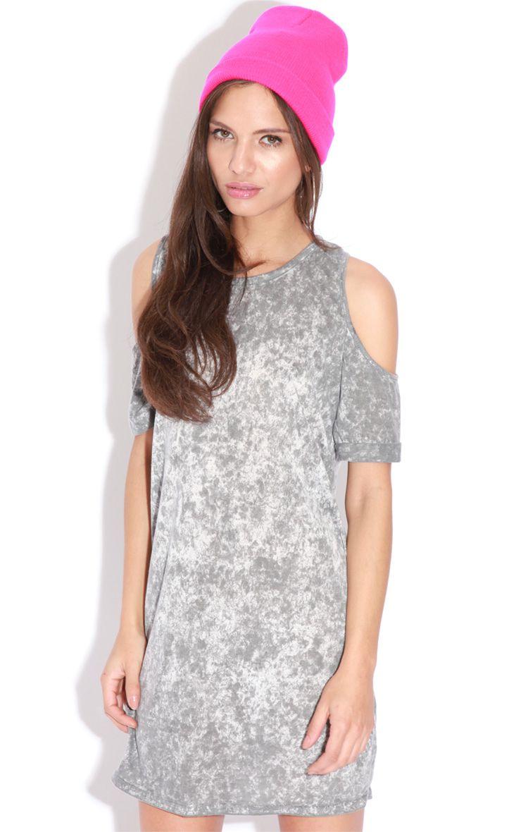 Tina Grey Tie Dye Shoulder Dress Grey