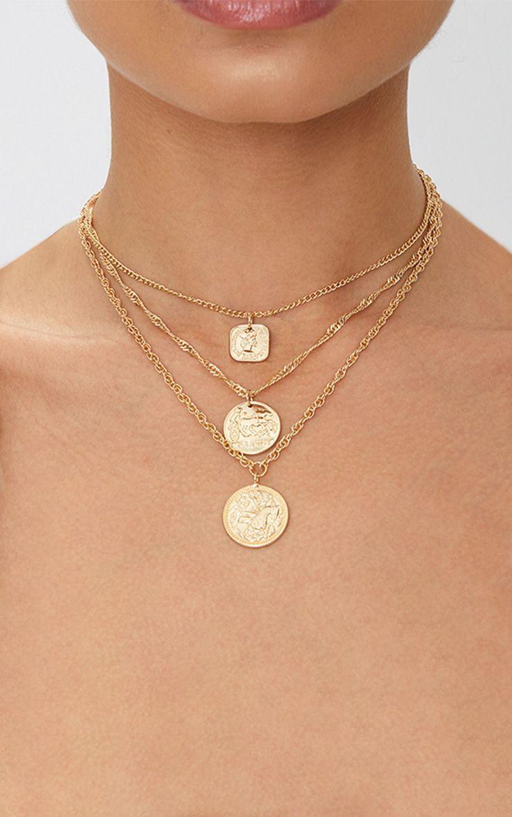 Gold Renaissance Triple Layer Coin Necklace