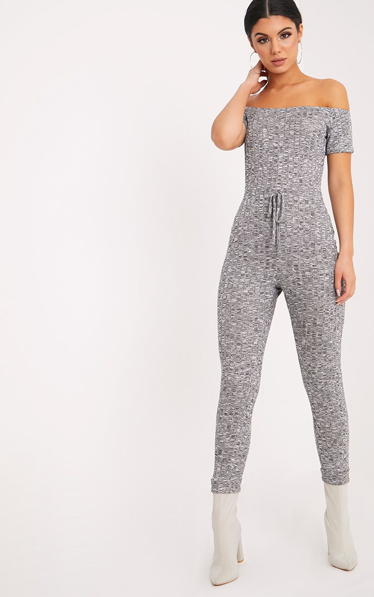 Farrah Grey Bardot Knitted Jumpsuit  1