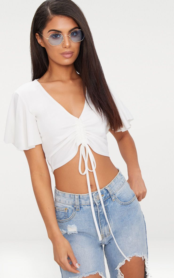White Crepe Ruched Front Crop Top