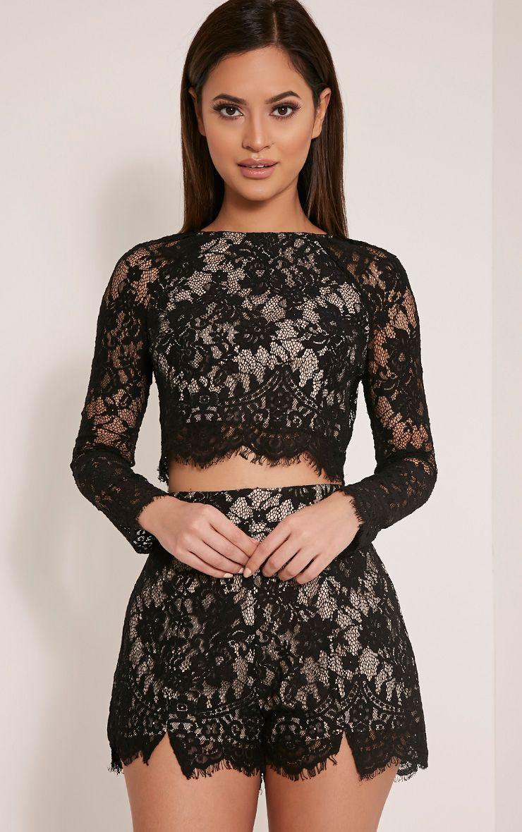 Ellena Black Lace Long Sleeve Crop Top 1