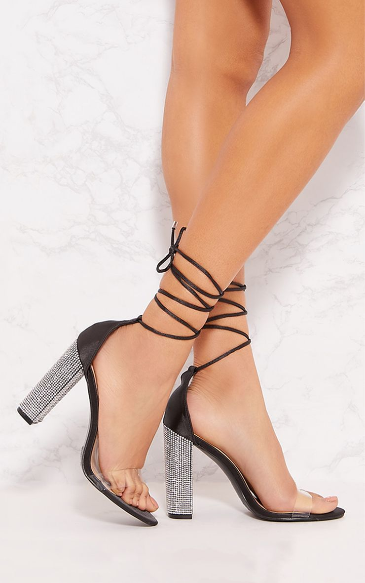 Black Diamante Heel Ghillie Sandal