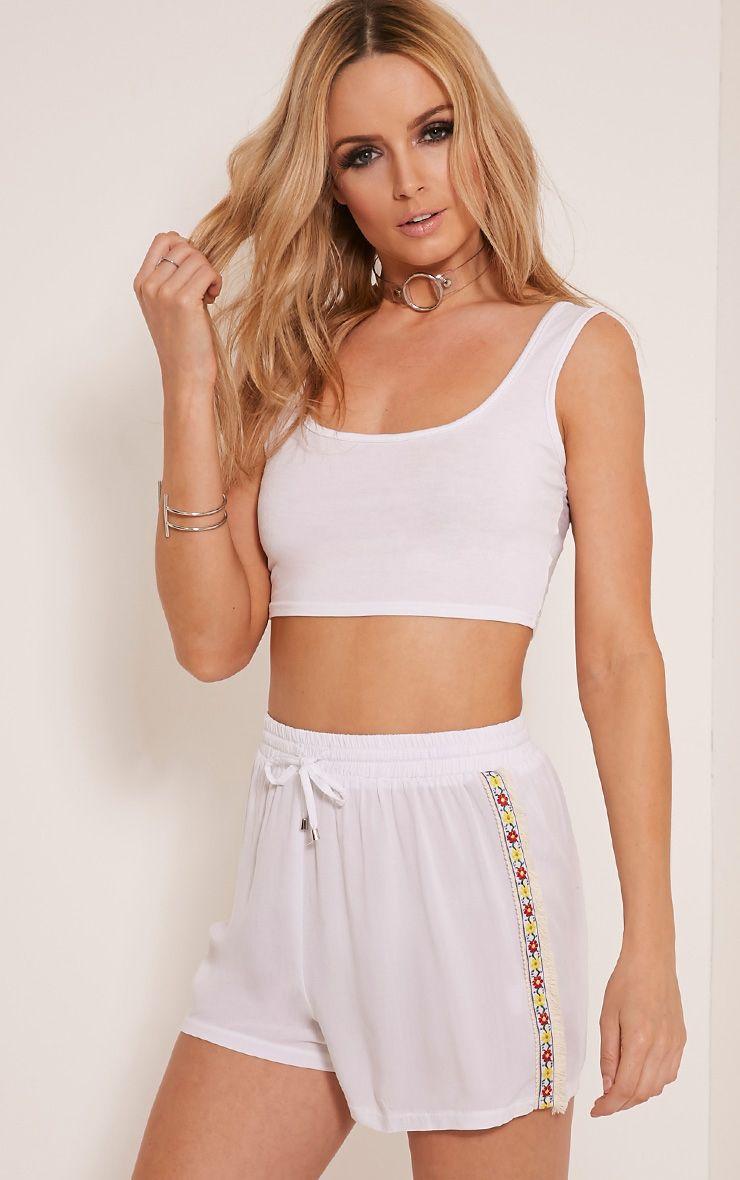 Reese White Flower Trim Side Shorts 1