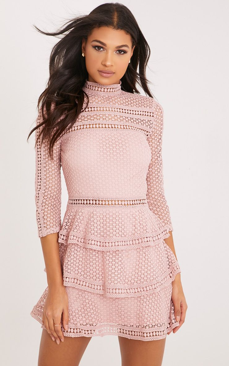 Caya Dusty Pink Lace Panel Tiered Mini Dress